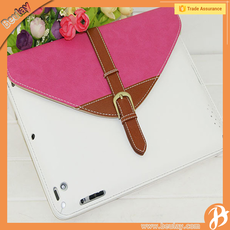 Wholesale beauty case for ipad2 cases buckle leather cover