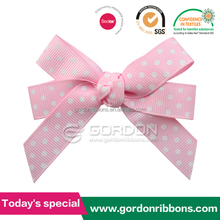 Cheap white dot on grograin ribbon bow tied clip wholesale hair bow, light pink ribbon hair bow with white dots