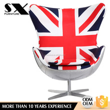 Classic Design modern fiberglass swivel egg chairs for kids with PU leather with upholstery chair/B52