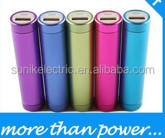 color power bank 2600mAh Cylindrical Metal case portable emergency external battery