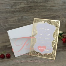 Chinese Wholesale Elegant Gold Laser Cut Wedding Invitations