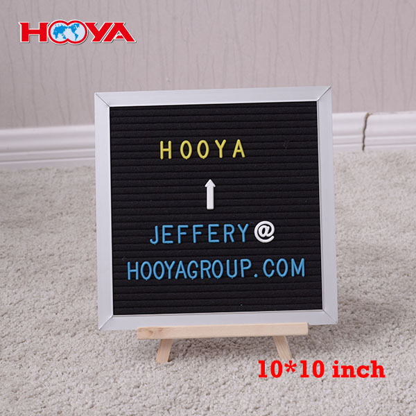 Wholesale customized size 10x10 inch oak wooden frame felt letter board with 290 letters