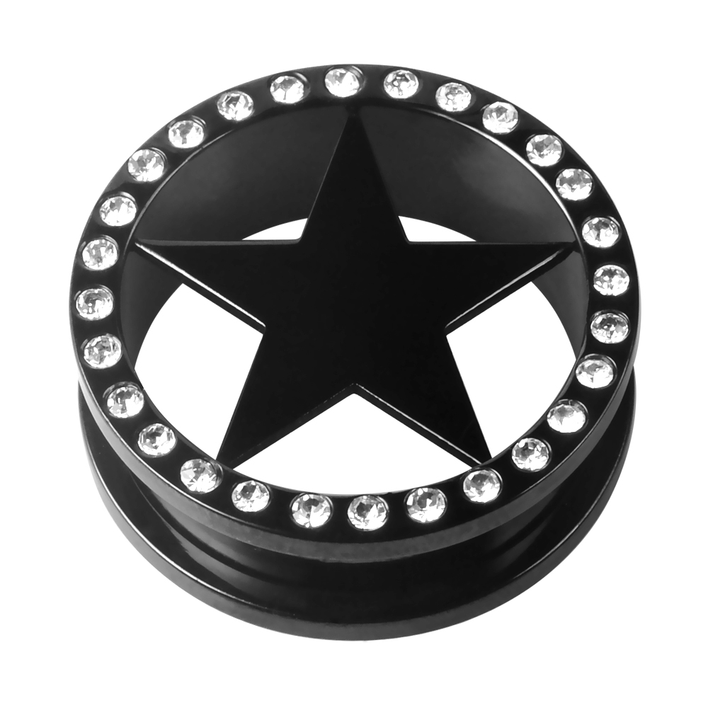 PVD Black Star Shape Ear Expander Crystal Plated Stainless Steel Flesh Tunnel Ear Piercing Jewelry