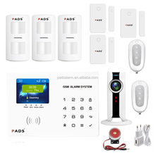 PADS G65 IOS/Android APP auto dial intelligent home burglar wireless security gsm alarm system with HD wifi camera monitoring