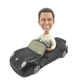 Custom sculpted car bobblehead doll figures,customized pvc plastic bobblehead figure in the car