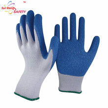 SRSAFETY 13 guage blue latex gloves industrial glove production line,crinkle finish