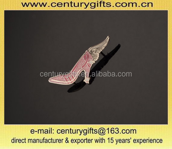 Pink high-heeled shoes pins with pink glitter and angel wings ,various designs are available