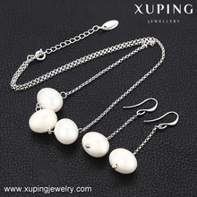 63830 Unique Ladies White Color Fashion pearl earring pendant Jewelry Set