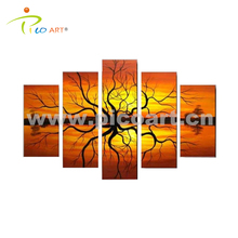 Hand Painted Fabric Tree Painting Design Scenery Art Oil Painting