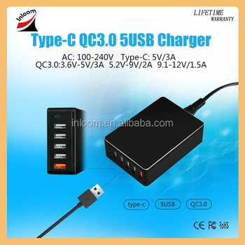 Factory Fast charger Type-C 5 Ports QC3.0 5V3A 9V2A 12V1.5A Desktop USB Quick Charger with EU US UK Plug