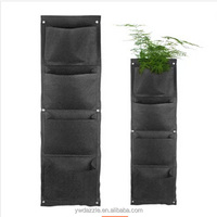 Vertical hanging multi pouches vertical gardens felt grow bag