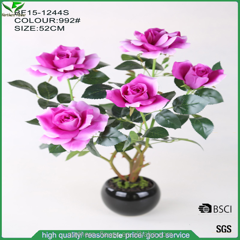 large realistic purple artificial rose plant in ceramic pot for decoration