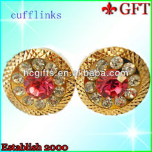 Wholesale Fashion pink crystal stones jewellery Cufflinks GFT-C801