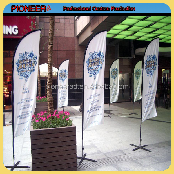 Free standing outdoor display feather shape flag banner with cross stand