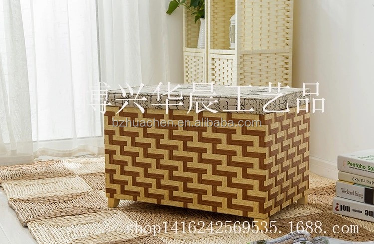 Wholesale cheap handicrafts water hyacinth grass straw woven hamper storage laundry basket with removable washable lining
