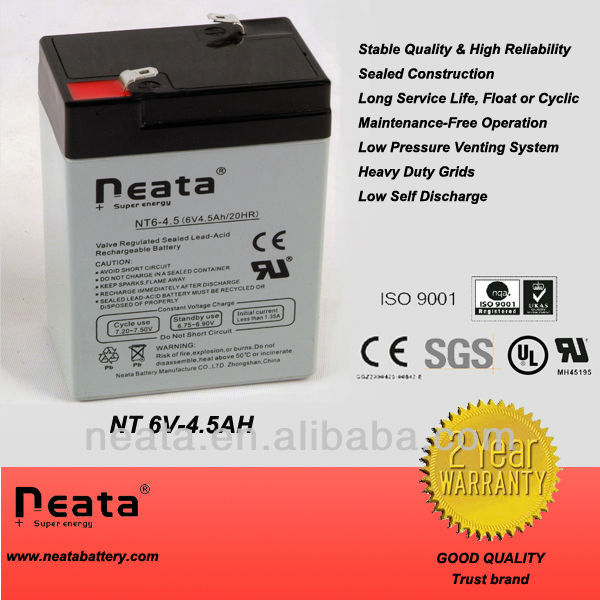 Deep cycle battery 6v 4.5ah maintenance free Sealed lead acid bettery for camping light