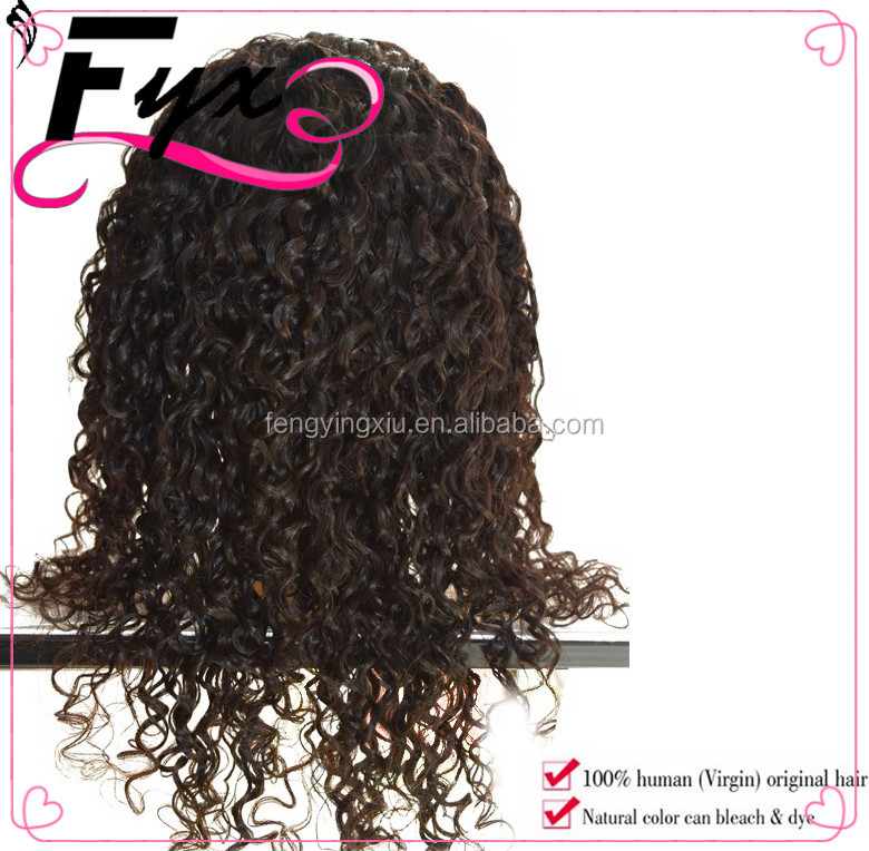 Wholesale Pre Plucked Malaysian Kinky Curly Cheap 100% Virgin Human Hair Can Be Custom Wigs For African Americans With Baby Hair