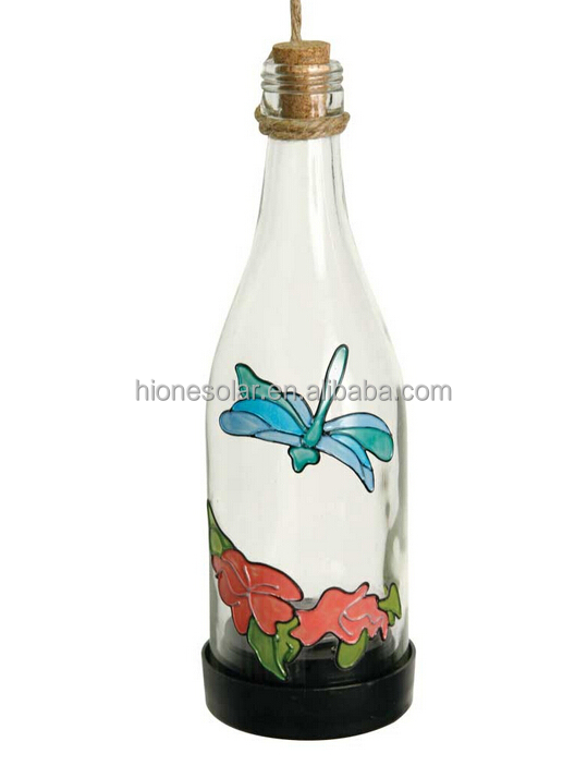 SOLAR GLASS BOTTLES BUTTERFLY/DRAGONFLY/HUMMINGBIRD PAINTED