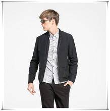 black emb logo man jacket with knit sleeve
