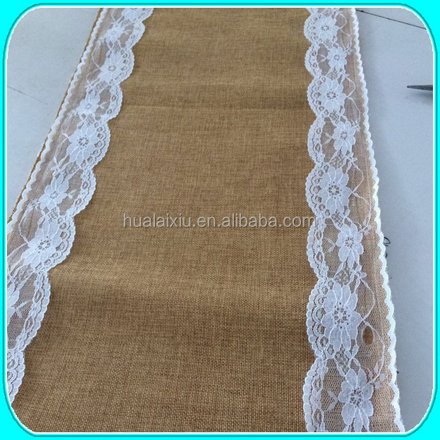 burlap table runner with lace edge