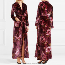 China wholesale night wear design new arrival floral-print velvet robe for elegant ladies