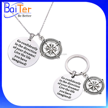 Hot Sell Stainless Steel Keychain Go Confidently In The Direction Of Your Dreams Key Chain