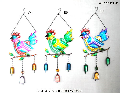 Wholesale Cast iron Metal Hen&Chicken Wind Chimes Decorative Garden Yard Ornaments(Set of2)