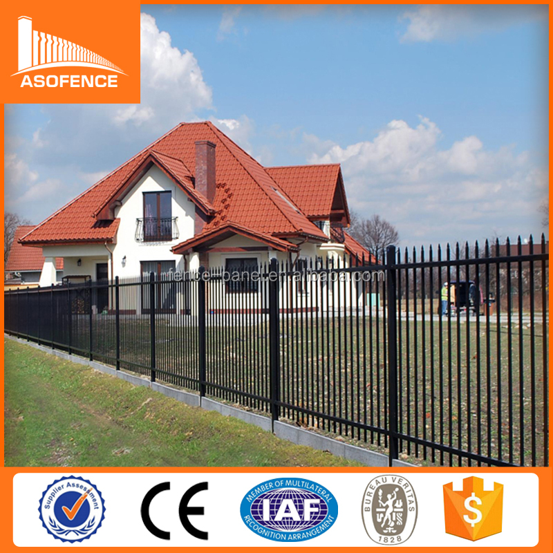 Garden Security Black Powder Coated Ornamental imple galvanised square steel tube wrought iron fence