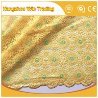 2016 Finely processed 80cm yellow indian beaded embroidery bridal laces fabrics / Fashion french net lace for nigerian party