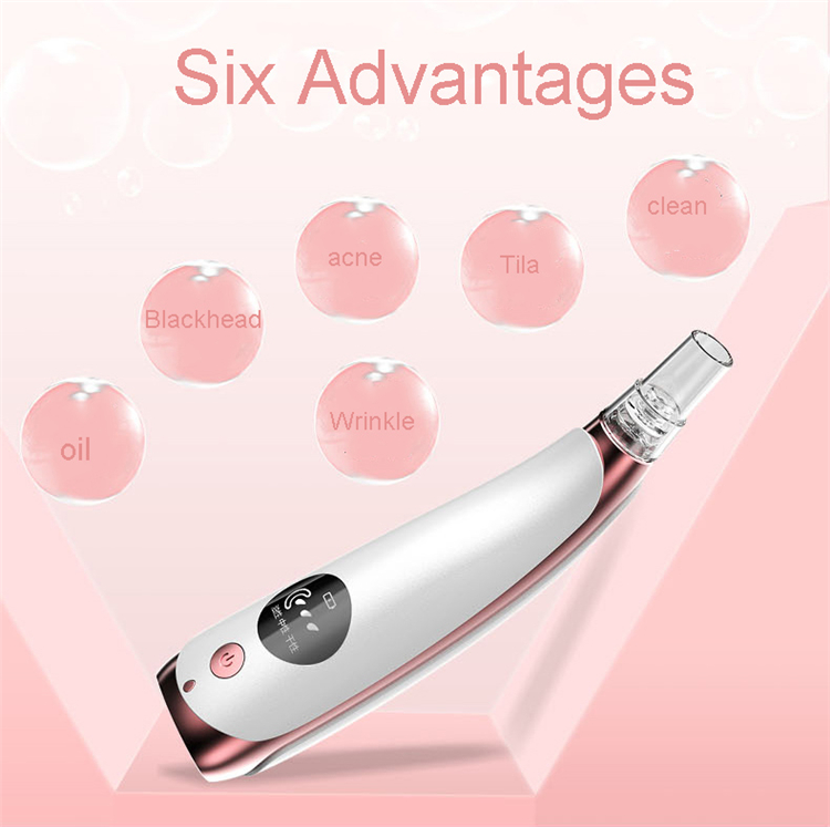 2019 new arrival LCD screen pore vacuum blackhead remover tool kit 6 heads