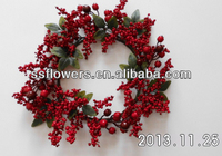 2014 Popular Artificial Flower Wreath Christmas Decoration 18cm Artificial Red Berry&Acorn Flower Candle Ring