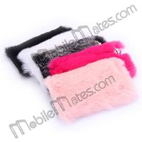 Luxury Fluffy Fur Plush + Diamond Bow Design Protective Phone Case for iPhone 5 5S