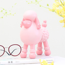 New design red poodle eyeglasses holder stand resin craft statues