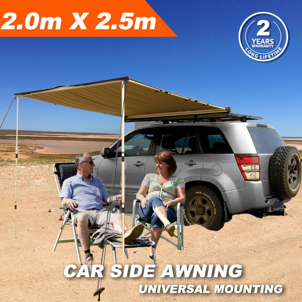 2M x 2.5M Roof Top Tent Camping Trailer 4WD 4X4 Rack Pull Out Rain Car Side Awning