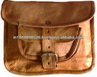 Unisex Leather Satchel with Natural Tan