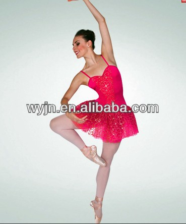 2014-girl hot red sequin ballet dance costume dress - dashing women ballet dancewear -child&adult kid ballet dance tutu skirt