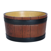 Country antique solid wood large ice bucket for party or bar use