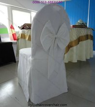 Plain polyester chair cover with bow for banquet chair