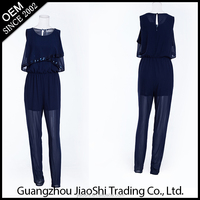 OEM custom madecasual loose style sexy one piece chiffon women jumpsuit for ladies