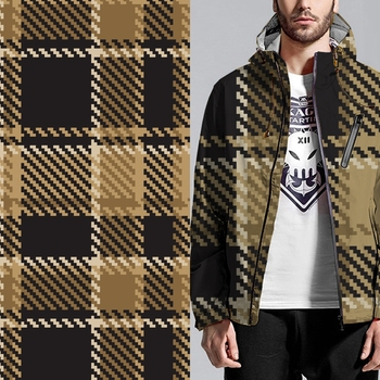 Custom men fashion coat check pattern digital printed fabric
