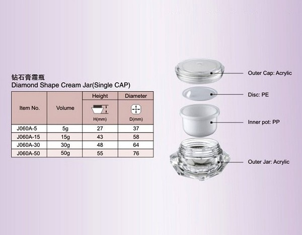 J060A Promotional economical skincare container fancy acrylic diamond jar