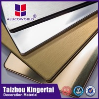 Alucoworld pvdf/pe aluminum composite water resistant wall panel brushed silver acp boards