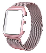 IVANHOE For Apple Watch Band Series 4 3 2 1 with <strong>Case</strong>,Milanese Loop Stainless Steel with Metal Protective Cover Frame Bands Repl