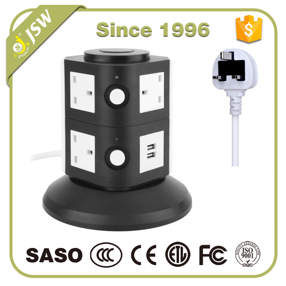 240v vertical electrical power strip plug with usb colour 4 way universal charger adapter surge protector socket outlet