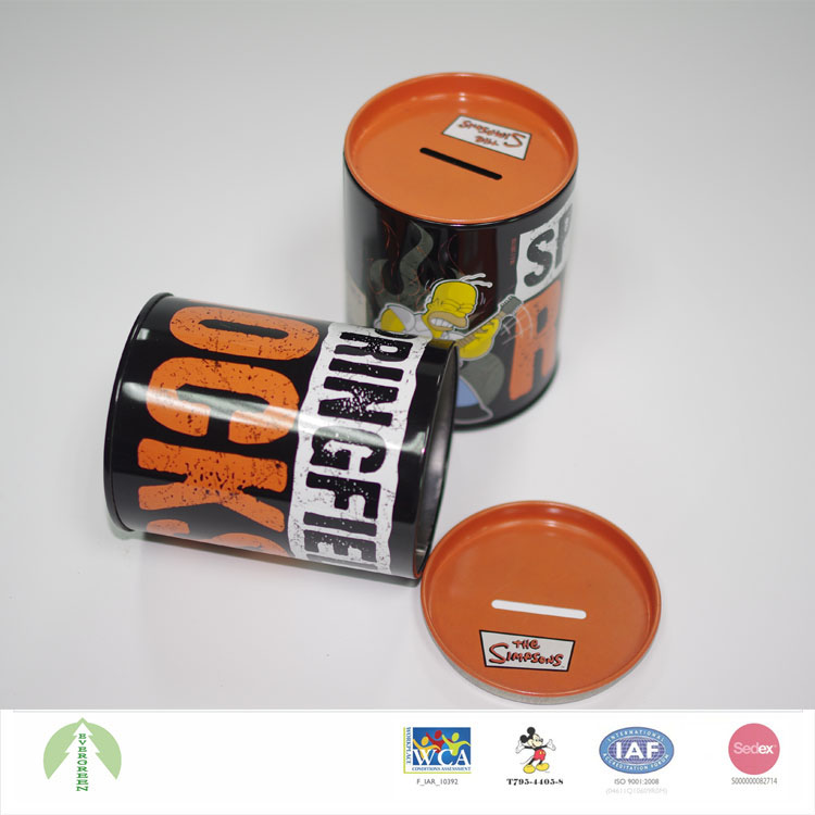 Hot sale custom money saving tin can box with slot