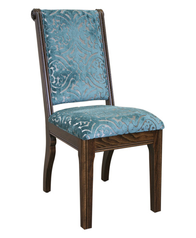 Solid <strong>Oak</strong> Wood Blue <strong>Leather</strong> Dining Chair