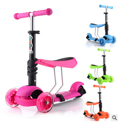 2016 Hot selling 3 in 1 child scooter, three pu flashing wheel kids cheap bmx scooter for sale