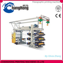Double winder six color Flexography Printing Machine print on plastic film
