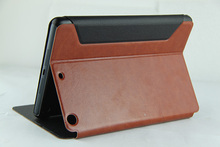 custom tablet pc leather cases with stand type support for ipad mini at factory price