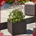 UV-resistant outdoor garden resin rattan square garlic planter sale